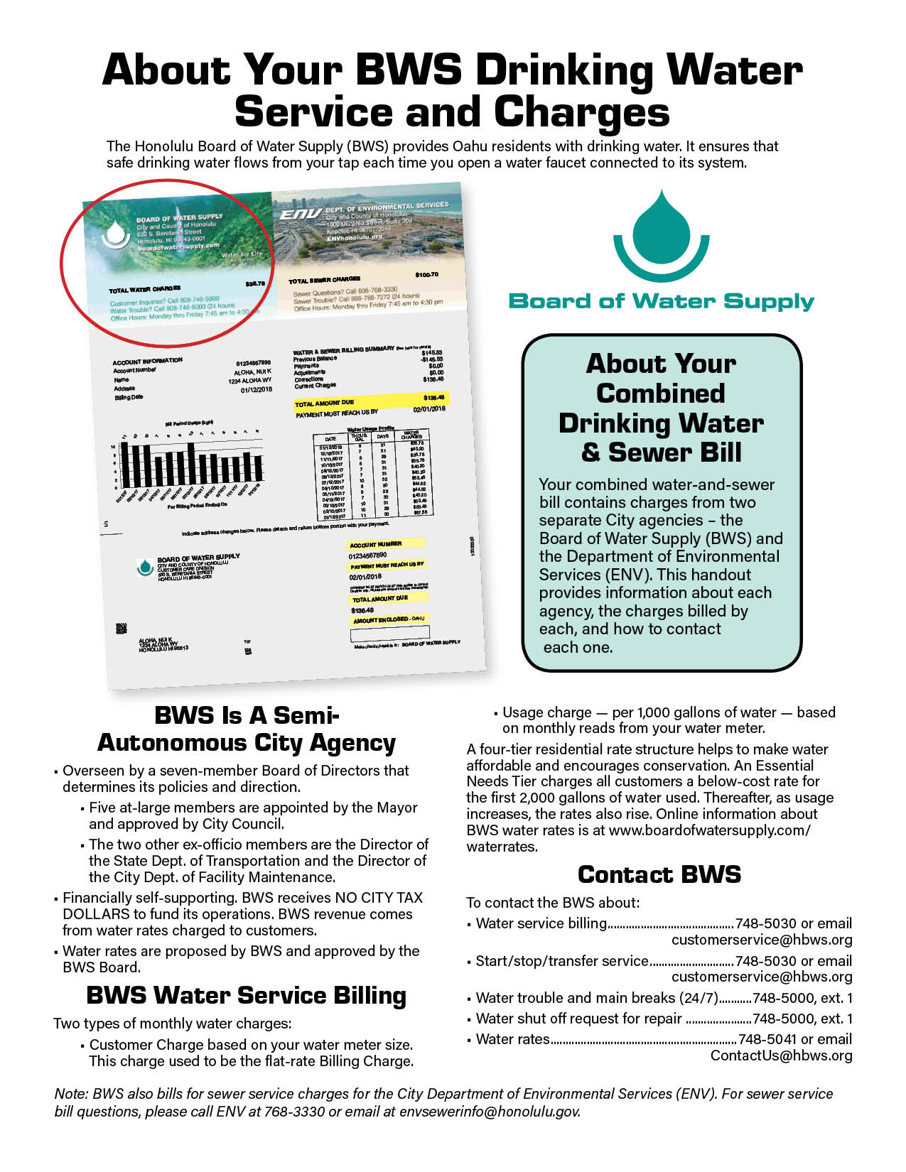 about your water service charges