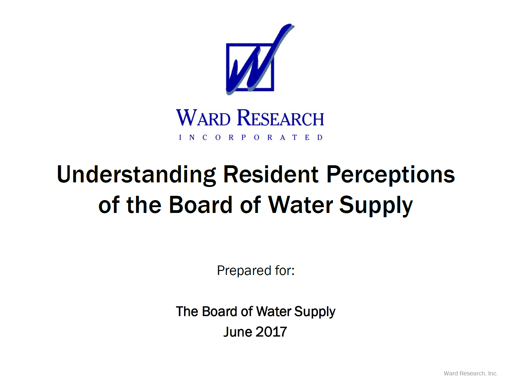 bws customer survey resident insights survey ward research june 2017
