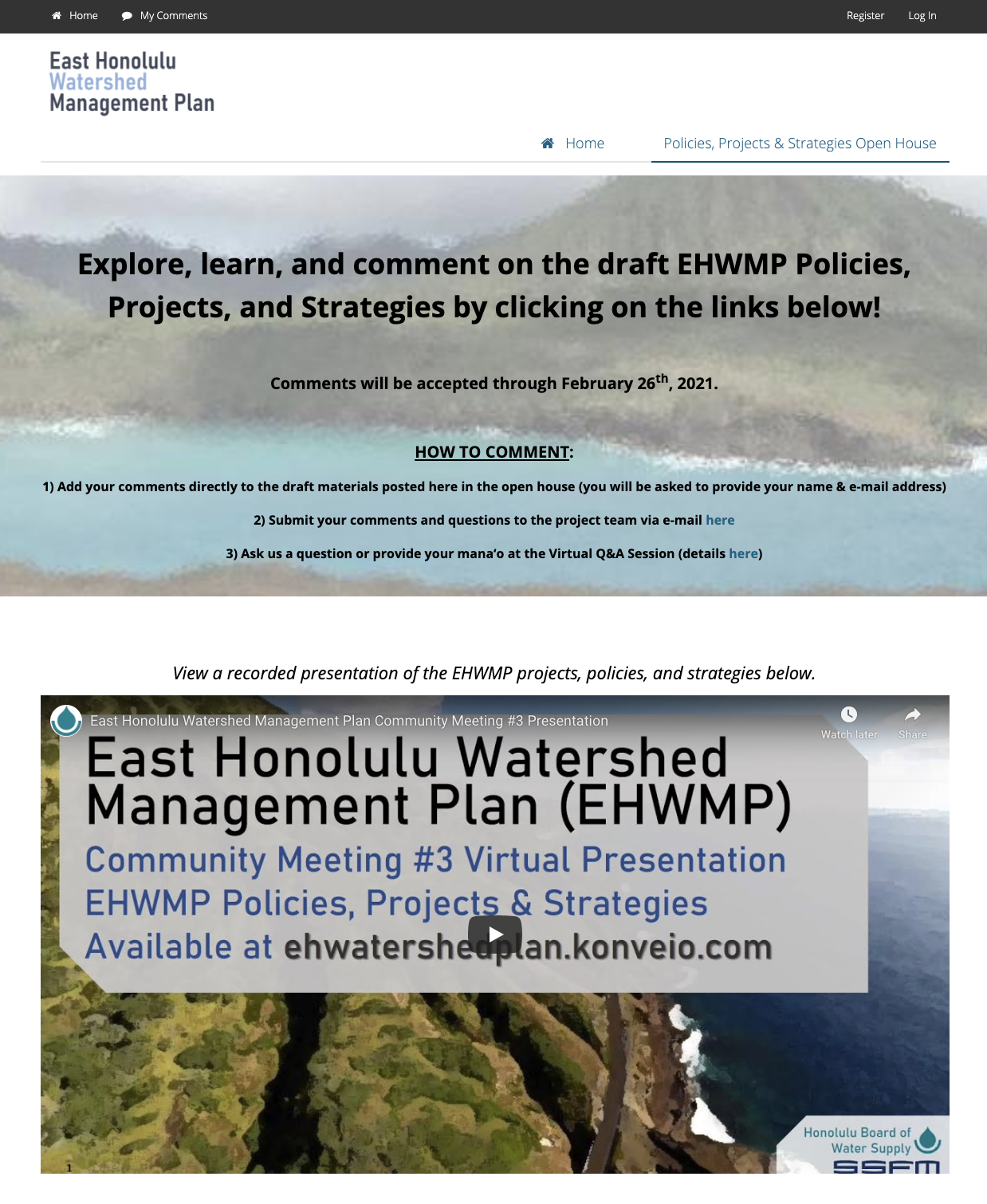 east honolulu watershed management plan open house