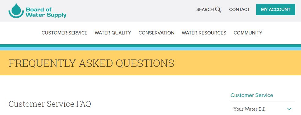Frequently Asked Questions - Board of Water Supply