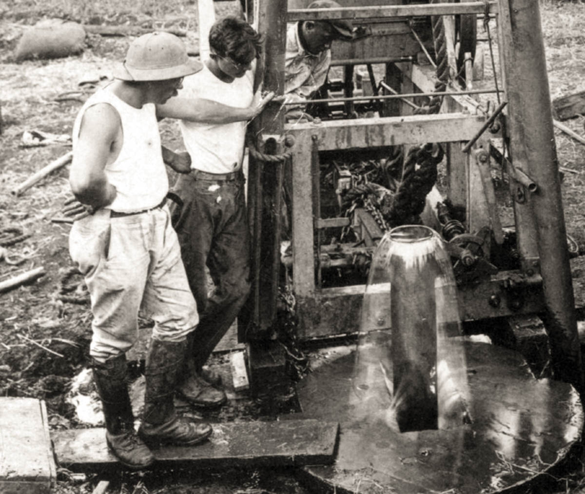 historical photo of well drilling