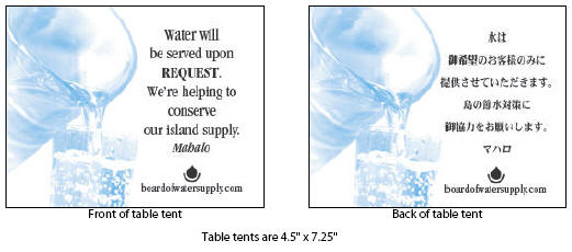 restaurant table tent