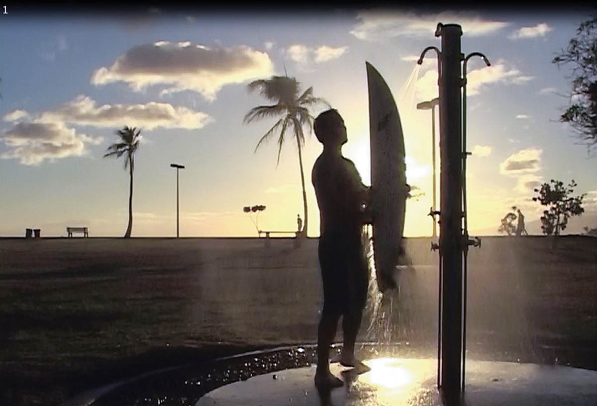 save water outdoors park shower surfer