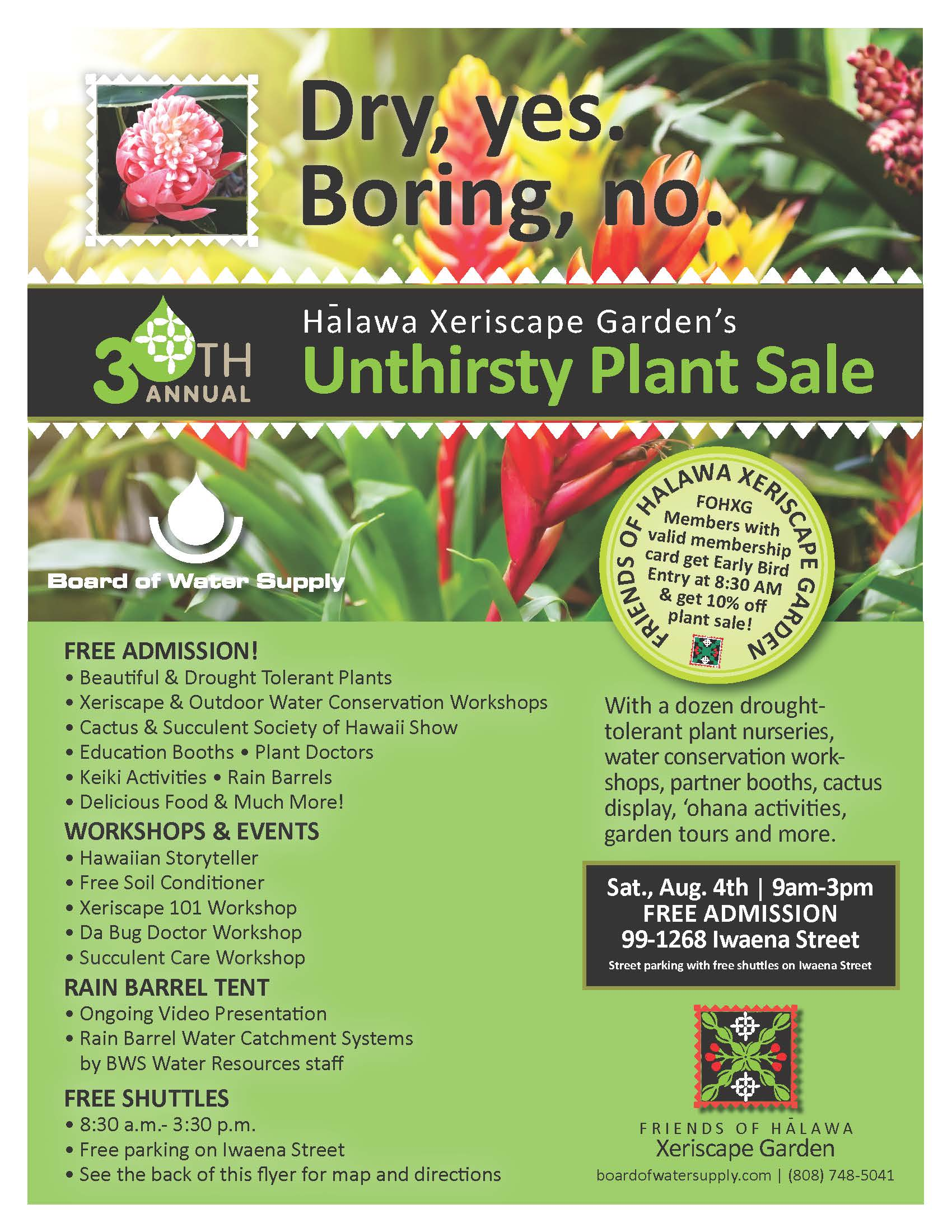 30th halawa xeriscape garden open house and unthirsty plant sale august 4 2018