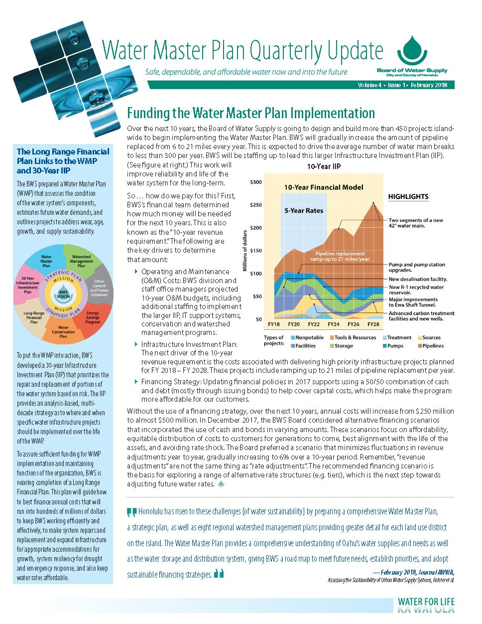 water master plan quarterly update february 2018